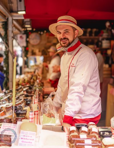 Manchester Markets 2018-4 Stall owner market meat cheese chrstmas europe